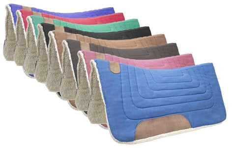 Western Canvas Contoured Wool Felt Extra Comfort Saddle Pads by Tahoe Tack - Tack Wholesale