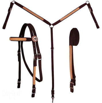 Tahoe Tack Nylon Basket Weave Overlay Headstall, Breast Collar & Reins Set Full Horse - Tack Wholesale