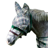 Derby Originals Hunter Green/Beige Plaid Fly Masks with Ears - Tack Wholesale