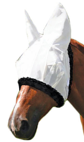 Derby Horse Fly Masks with Ears - White - Tack Wholesale