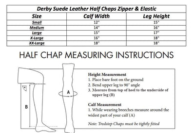 Derby Originals Adult and Childrens Suede Leather Half Chaps with Full Length Zippers & Elastic for Horseback Riding or Motorcycle Use