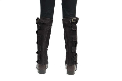 Derby Suede Leather Half Chaps with Velcro Closure for Horse Riding or Motorcycle Use - Tack Wholesale