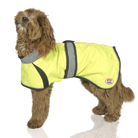 Light Up LED Waterproof Dog Jacket with Reflective Trim & Belt - Safety Yellow Coat for Walking, Jogging, Running, Sports, Hiking, Hunting by Derby Originals
