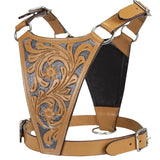 CuteNfuzzy Premium Tooled Gaucho Leather Padded Dog Pulling Harness - Available in Four Sizes and Two Styles - Great for Bully Breeds