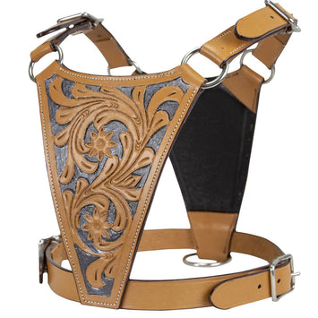 Leather Dog Harness with Floral Design