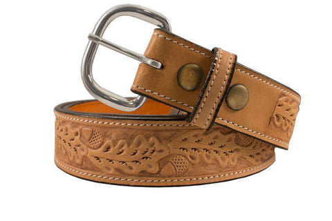 USA Leather Acorn Tooled Western Belt with Buckle - Tack Wholesale