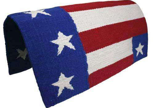 "American Flag Wool Western Saddle Blanket - Size 34"" X 36"" - Tack Wholesale"
