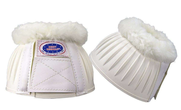 Derby Originals No Turn Rubber Horse Bell Boots with Genuine Merino Sheepskin Wool Trim - Double Lock Fastening System - Pair - White - Tack Wholesale