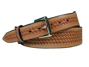 Tapered USA Leather Basket Tooled Western Belt with 1