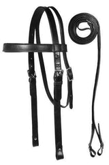 Premium Heavy Browband Draft Headstall with Reins USA Leather