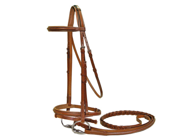 Paris Tack Square Raised Padded Crown Bridle with Flash & Reins - Tack Wholesale