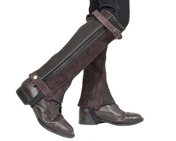 Derby Originals Adult and Childrens Suede Leather Half Chaps with Full Length Zippers & Elastic for Horseback Riding or Motorcycle Use - Tack Wholesale