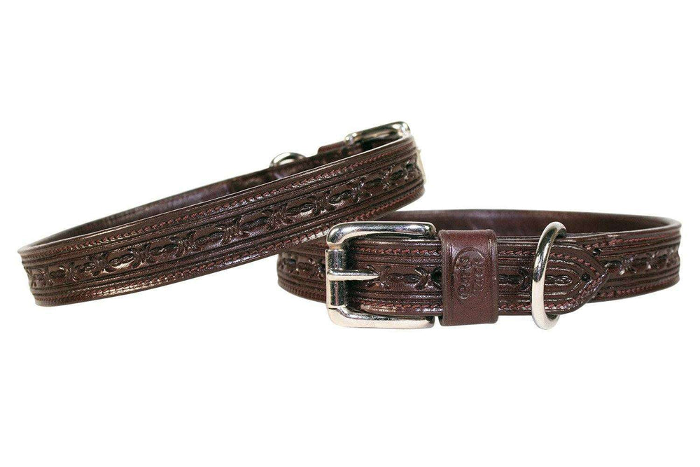 Derby Dog Designer Series Tooled USA Leather Padded Barbwire Dog Collar