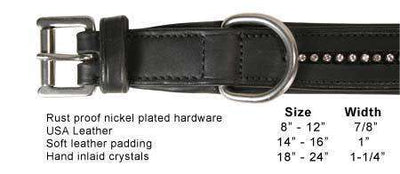 Derby Dog Designer Series USA Leather Padded Dog Collar with Swarovski Crystal Inlay - Tack Wholesale