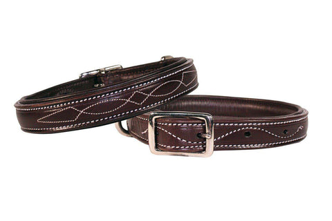 Derby Dog Designer Series USA Leather Padded Fancy Stitch Dog Collar - Tack Wholesale