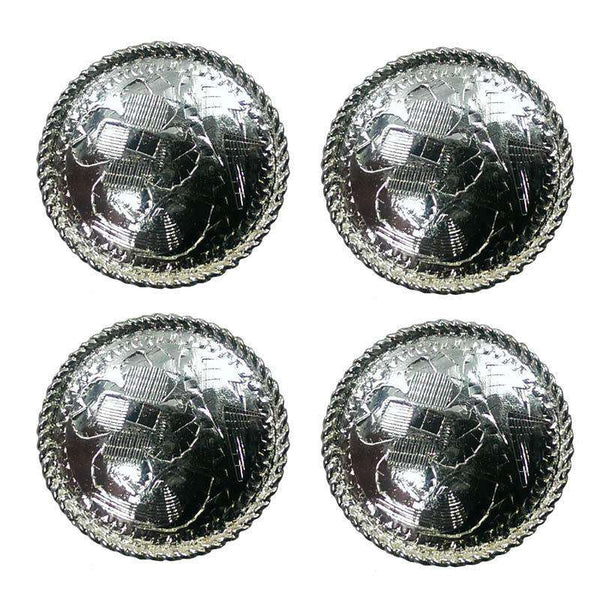 Brass Silver Round Concho with Rope Edge - Lot of 4 - Tack Wholesale