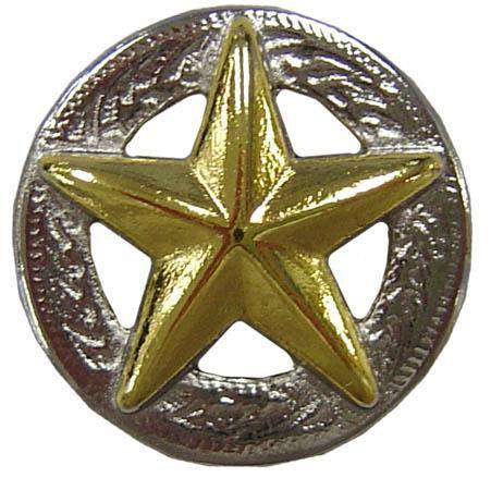 American Gold Star 3D Silver Screw Back Concho  3/4