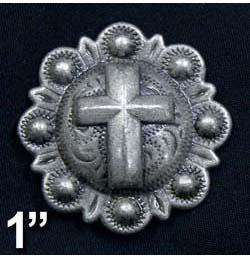 Antique Silver Cross Conchos with Screw Back - Tack Wholesale