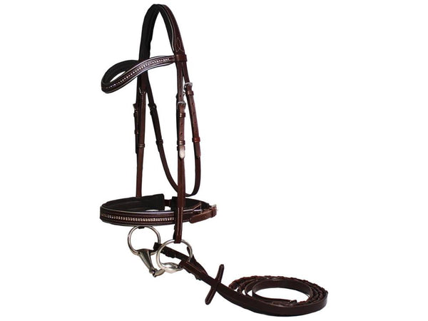 Crystal Crown Padded Reflective Crank Bridle with Laced Reins