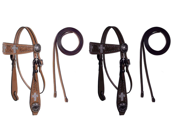 Crystal Cross Show Headstall with Reins by Tahoe Tack - Tack Wholesale