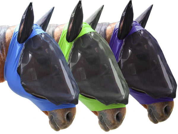 Derby Extra Comfort Lycra Grip Horse Fly Mask with Ears - Tack Wholesale