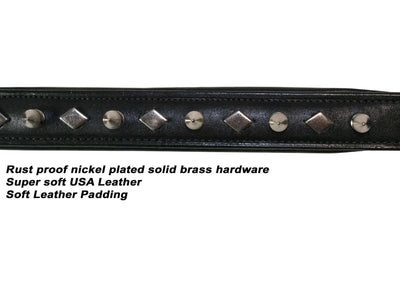 Derby Dog Designer Series USA Leather Spikes and Diamond Padded Dog Collar - Tack Wholesale