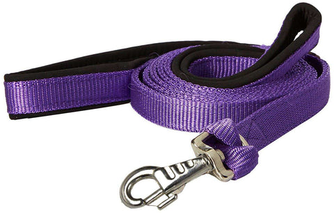 "CuteNfuzzy Padded Double Handle Dog Leash Warranted Replaceable Snap 1"" X 4' - Tack Wholesale"