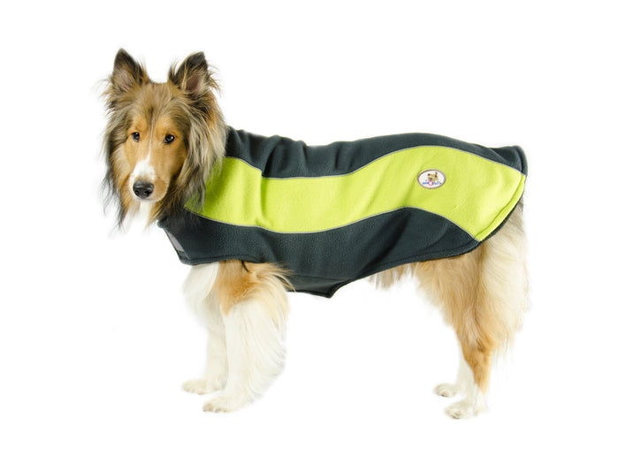 CuteNfuzzy Double Layer Every Day Fleece Cold Weather Adventure Dog Sweater Coat with Reflective Stripes
