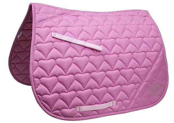 Derby Originals All Purpose Crystal Heart English Saddle Pad - Tack Wholesale