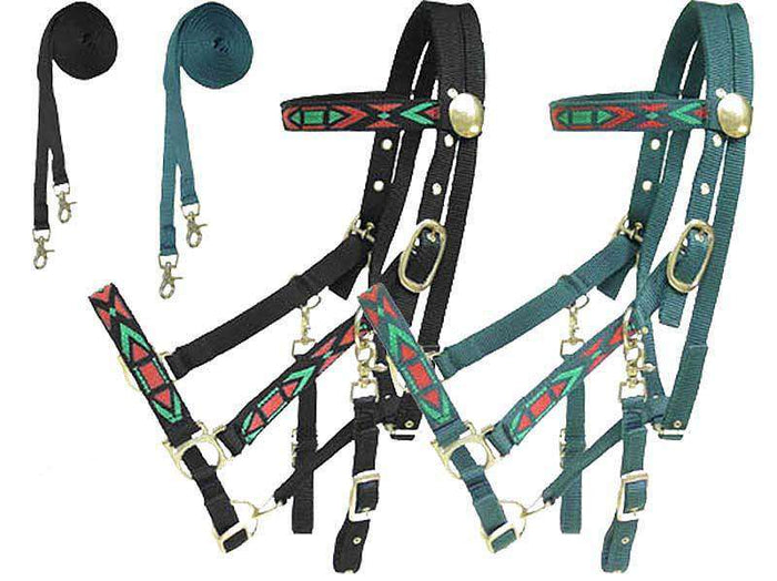 Derby Padded Nylon Halter Bridle Combo with Reins Aztec Overlay