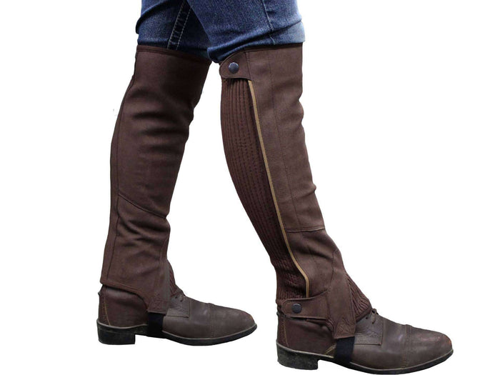 Derby Originals Amara Synthetic Suede Ribbed Slim Calf Half Chaps with Elastic for Horseback Riding or Motorcycle Use - Tack Wholesale