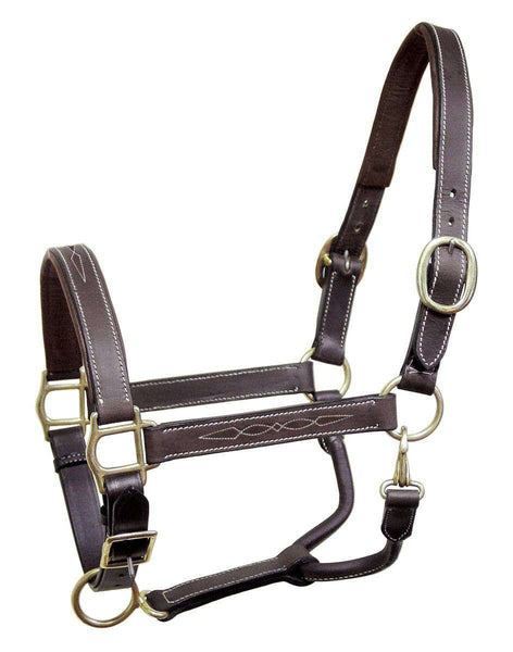 Derby Originals English Opulence Series - Liverpool - Fancy Stitch Padded Adjustable Leather Halter - Tack Wholesale