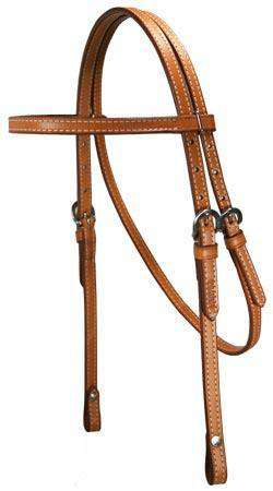 "Tahoe Double Beauty Browband Headstall 5/8"" USA Leather - Tack Wholesale"