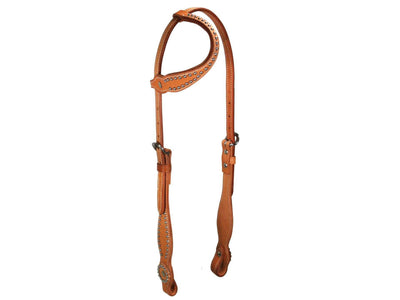 Tahoe High Country Slip Ear Headstall with Spots USA Leather - Tack Wholesale