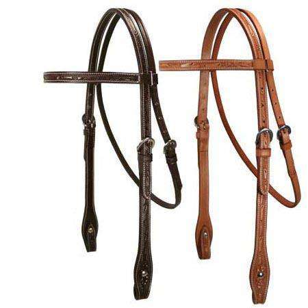 Tahoe Leaf Tooled Browband Headstall USA Leather - Tack Wholesale