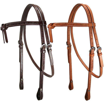 Leaf Tooled Knotted Headstall USA Leather - Tack Wholesale
