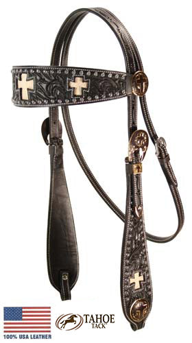 Tahoe Sunspots Floral Tooled Cross Inlaid Headstall