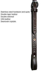 Tahoe Swarovski Crystal Browband Headstall w/ Spots USA Leather - Tack Wholesale