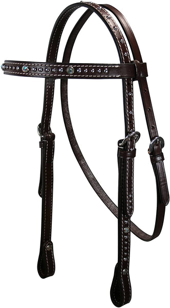 Tahoe Crystals Browband Headstall with Spots USA Leather