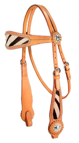 Tahoe Tack Wild Side Zebra Print Browband Headstall, London Tan, Full Size - Tack Wholesale