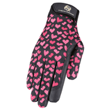 Heritage Performance Horse Riding Gloves Pink Hearts - Tack Wholesale