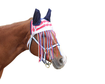 Derby Originals Premium Reflective Mesh Horse Fly Bonnet with Fringe and Soft Mesh Ears - Can be Worn Alone or Attaches to Any Halter or Bridle