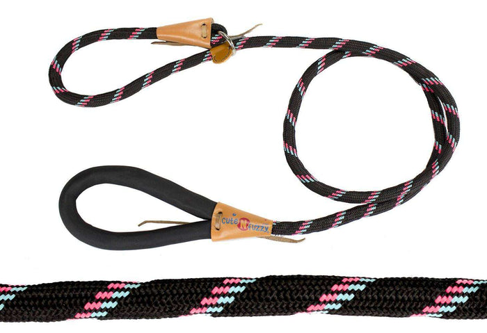 CuteNfuzzy Adjustable Loop Slip Dog Leash with Soft Handle 6 Ft - Tack Wholesale