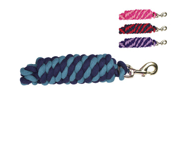 Derby Originals Striped Multicolor 10' Cotton Lead Ropes with Rust Proof Brass Snaps