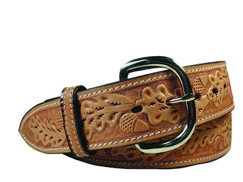 Tapered USA Leather Acorn Tooled Western Belt with 1
