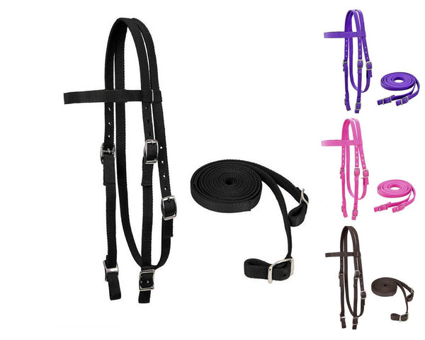 Tahoe Tack Double Layered Nylon Western Headstall with Matching Split Reins