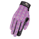 Heritage Performance Horse Riding Gloves Pink Plaid - Tack Wholesale