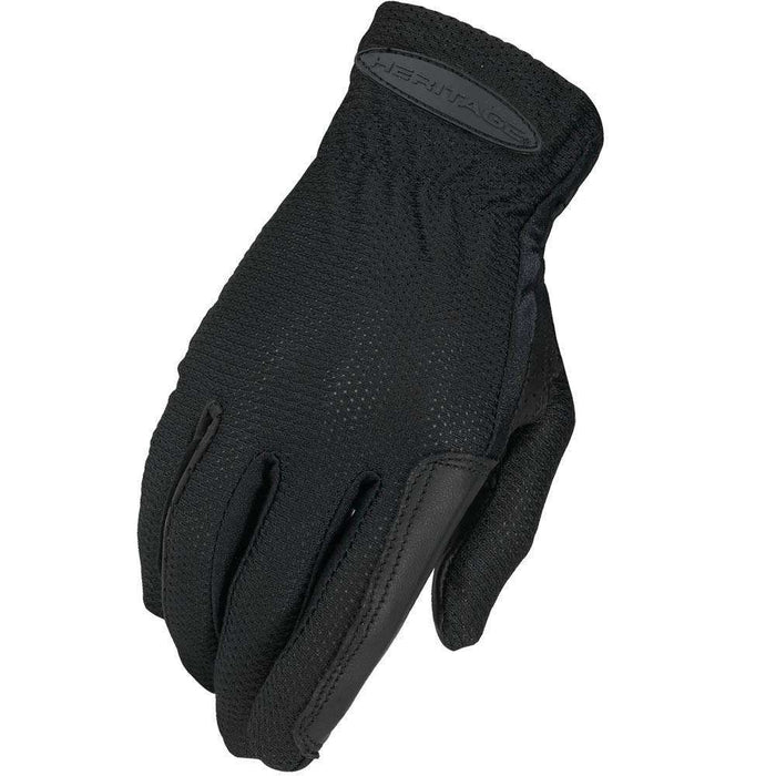 Heritage Pro-Flow Summer Show Riding Gloves Black - Tack Wholesale