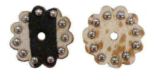 Cow Hair on Leather Rosettes with Spots 1.5 inch Lot of 6 - Tack Wholesale