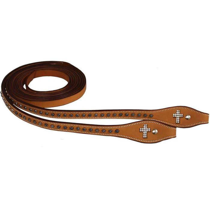 Tahoe Crystal Cross Leather Split Reins with Sunspots - Tack Wholesale